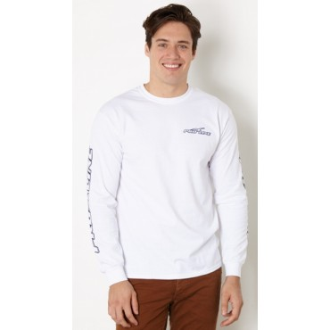 Proline White Long Sleeve T-Shirt with Navy Font