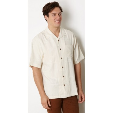 AMAZING SILK SHIRT !! Fountain Ivory Silk Logo Camp Shirt