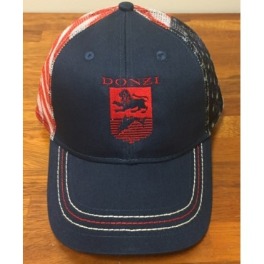 Donzi Navy Adjustable Hat with American Flag Meshing