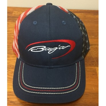 Baja  Adjustable Navy Hat with American Flag Mesh