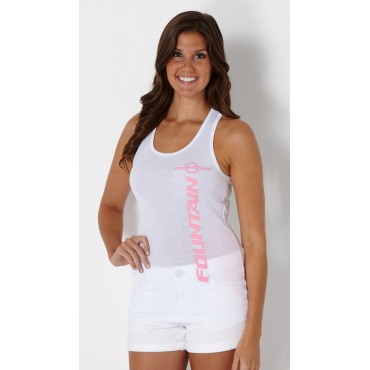 Ladies Fountain White Sheer Racerback Tank