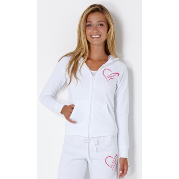 Baja Ladies Bella Zip Up Hoodie White