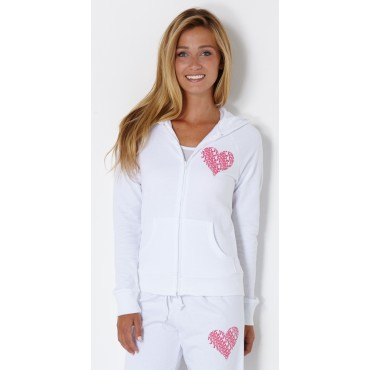 Fountain Bella Ladies Zip Up Hoodie White