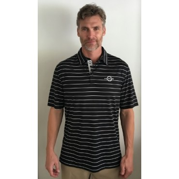Fountain Black and White Striped Polo