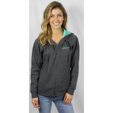 Baja Heather Grey Zipup Hooded  Sweatshirt