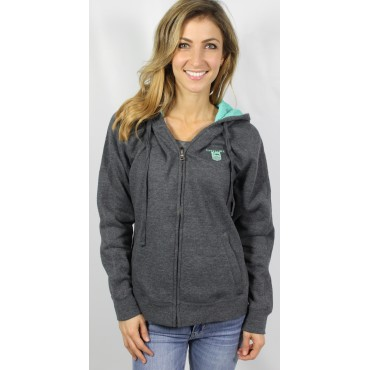 Donzi Heather Grey Zipup Hooded  Sweatshirt