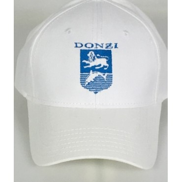 Donzi White Adjustable Hat with Crystal Blue Embroidery