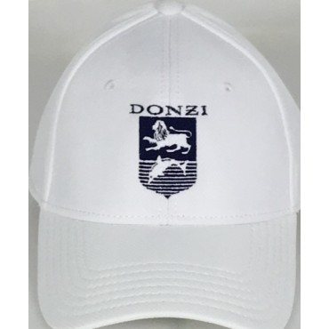 Donzi White Flex Fit Hat with Navy Embroidery