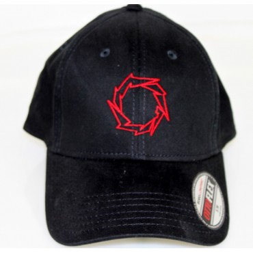Fountain Black Flex Fit Hat w/ Lightening Bolt- RED