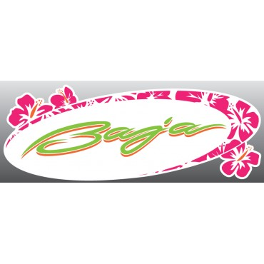 "Baja Pink Hibiscus Sticker Decal (4.5"" x 12"")"