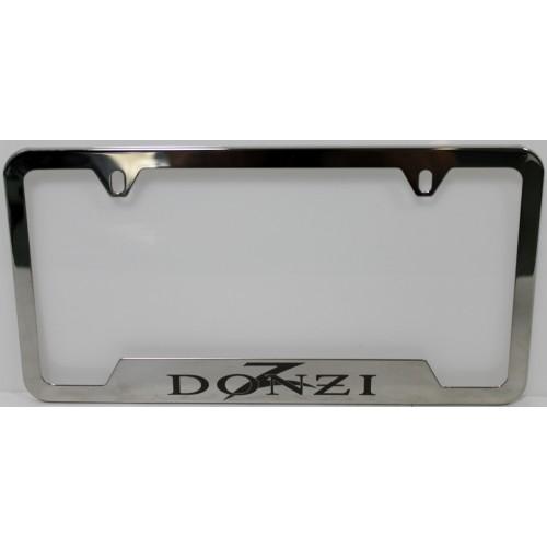 Donzi Laser Etched License Plate Frame (Silver & Black)