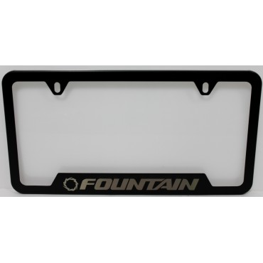 Fountain Laser Etched License Plate Frame (Silver & Black)