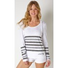 Baja Grey/White Striped Burnout Hoodie