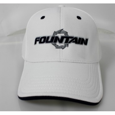 Fountain White Flex Fit Hat W/Navy and Grey Logo